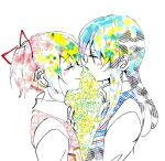 2girls abstract akemi_homura cherry_blossom_print cherry_blossoms close-up closed_eyes closed_mouth collared_shirt colorful double_exposure eyebrows_visible_through_hair eyelashes face face-to-face floral_print flower from_side green_flower hair_ribbon half-closed_eyes happy hibiscus high_collar itsu_(artist) kaname_madoka light_blush light_smile long_hair long_sleeves looking_at_another mahou_shoujo_madoka_magica multiple_girls noses_touching pink_flower plaid profile red_ribbon ribbon shirt simple_background striped twintails unmoving_pattern upper_body vest white_background white_flower