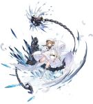 1girl azur_lane boots braid brown_hair coat dress feathered_wings feathers full_body fur-trimmed_coat fur_trim gremyashchy_(azur_lane) highres long_hair looking_at_viewer official_art solo torpedo_tubes transparent_background very_long_sleeves white_coat white_dress white_footwear white_headwear wings yellow_eyes yyy_(zelda10010)