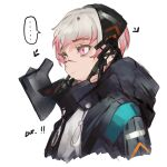 !! ... 1girl arknights bangs black_mask blue_coat blue_jacket closed_mouth coat commentary_request doctor doctor_(arknights) eyebrows female_doctor_(arknights) gradient_hair highres hood hooded_coat hooded_jacket jacket mask mask_removed multicolored_hair open_clothes open_coat open_jacket pink_eyes pink_hair salmon88 scar scar_on_face scar_on_nose shirt short_hair simple_background speech_bubble staring upper_body white_background white_hair white_shirt