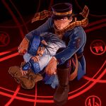 1boy 1girl ainu_clothes asirpa black_hair blood bloody_clothes bloody_hands blue_eyes blue_hair blue_headband boots brown_eyes brown_footwear earrings golden_kamuy hat headband highres hoop_earrings jewelry looking_at_viewer military military_hat military_uniform red_background scar scar_on_face scarf sitting sugimoto_saichi sumi_wo_hakuneko uniform yellow_scarf