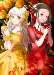 2girls apple black_hair breasts commentary dress english_commentary flower food fruit highres holding holding_food holding_fruit iroha_(shiki) long_hair multiple_girls nail_polish off-shoulder_dress off_shoulder orange_flower orange_nails orange_rose original puffy_short_sleeves puffy_sleeves red_apple red_dress red_eyes red_flower red_lips red_nails red_rose rose short_sleeves small_breasts very_long_hair white_hair yellow_dress yellow_eyes yellow_lips