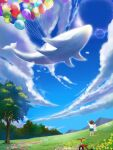 balloon bird blue_sky brown_hair clouds day dew_(7302235) facing_away flower grass highres holding holding_stuffed_toy mountain original outdoors scenery shirt sky standing stuffed_toy tree tricycle whale white_shirt