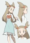1girl bow dress full_body gym_leader hair_ornament highres jasmine_(pokemon) light_brown_eyes light_brown_hair long_dress long_hair looking_at_viewer looking_to_the_side multiple_views orange_bow pokemon pokemon_(game) pokemon_hgss smile standing yoshi_(moco1)