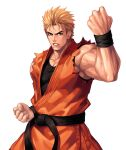 1boy bangs belt biceps black_belt black_shirt blonde_hair blue_eyes clenched_hands collarbone commentary_request cowboy_shot dougi evilgun fighting_stance fingernails hand_up highres looking_at_viewer male_cleavage male_focus muscular muscular_male ryou_sakazaki ryuuko_no_ken serious shirt short_hair simple_background sleeveless sleeveless_shirt solo standing the_king_of_fighters the_king_of_fighters_'97 undershirt white_background