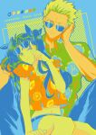 1boy 1girl adjusting_eyewear alternate_costume archer arm_up bangs belt blue_background closed_mouth collared_shirt commentary_request couple cropped_shirt english_text fate/stay_night fate_(series) floral_print forehead green_shirt hawaiian_shirt hetero highres lemon_print long_hair looking_at_viewer midriff navel one_eye_closed orange_print pants shimatori_(sanyyyy) shirt short_sleeves simple_background sitting smile sunglasses tohsaka_rin twintails