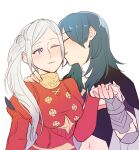 2girls bangs blue_hair blush breasts buttons byleth_(fire_emblem) byleth_(fire_emblem)_(female) cheek_kiss closed_eyes collar commentary_request dress edelgard_von_hresvelg eyebrows_visible_through_hair fingernails fire_emblem fire_emblem:_three_houses from_side hand_on_another's_shoulder holding_hands kiss long_hair long_sleeves looking_at_another midriff multiple_girls navel one_eye_closed parted_lips puffy_long_sleeves puffy_sleeves red_dress riromomo side_ponytail sidelocks silver_hair simple_background smile stomach upper_body vambraces white_background yuri