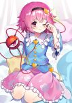 1girl absurdres closed_mouth commentary_request hand_up highres komeiji_satori looking_at_viewer no_shoes one_eye_closed pink_eyes pink_hair sitting socks solo touhou wariza wavy_mouth yuujin_(yuzinn333)