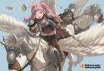 2girls 4others :d alternate_costume armor black_legwear blue_background blue_hair boots breastplate brown_footwear brown_gloves commentary dress english_commentary fire_emblem fire_emblem:_three_houses gloves green_little grey_eyes hilda_valentine_goneril holding holding_spear holding_weapon long_hair marianne_von_edmund multiple_girls multiple_others open_mouth pauldrons pegasus pegasus_knight pink_eyes pink_hair polearm riding short_dress shoulder_armor simple_background smile spear thigh-highs twintails watermark weapon web_address zettai_ryouiki