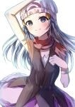 1girl arm_above_head armpits beanie black_shirt blue_eyes blue_hair blush breasts closed_mouth commentary_request dawn_(pokemon) hand_on_own_chest hat highres long_hair natsume_suzuri petticoat pokemon purple_skirt red_scarf scarf shirt simple_background skirt sleeveless sleeveless_shirt small_breasts smile solo upper_body white_background white_headwear wristband