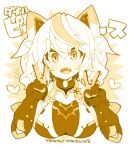 1girl animal_ears bangs bodysuit breasts cat_ears copyright_name cropped_torso double_v eyebrows_visible_through_hair fake_animal_ears fang gene_(pso2) gloves head_tilt large_breasts mechanical_ears monochrome multicolored_hair open_mouth phantasy_star phantasy_star_online_2 rikumaru skin_fang smile solo streaked_hair twintails upper_body v
