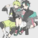 2boys aether_(genshin_impact) ahoge alternate_costume backwards_hat bag bangs baseball_cap black_hair black_sweater cellphone cup drinking_straw eyebrows_visible_through_hair facial_mark forehead_mark genshin_impact green_eyes green_hair green_nails green_shorts grey_background hair_between_eyes hat highres holding holding_cup holding_phone honeymilk0252 jacket jewelry male_focus multicolored_hair multiple_boys nail_polish necklace open_mouth open_toe_shoes phone ring shoes shorts simple_background sitting smartphone smile sneakers socks sweater toenail_polish turtleneck turtleneck_sweater v watch watch white_legwear white_shorts xiao_(genshin_impact)