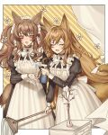 2girls :d absurdres alternate_costume angelina_(arknights) animal_ears apron arknights bandaid bandaid_on_hand black_choker black_dress blush border bottle bow bowtie brown_hair ceobe_(arknights) choker cym23730 dog_ears dog_girl dog_tail dress enmaided flower fox_ears fox_girl fox_tail highres holding holding_mop juliet_sleeves light_brown_hair long_hair long_sleeves maid maid_headdress mop multiple_girls open_mouth outside_border puffy_sleeves smile spray_bottle striped striped_background sweat tail twintails vase very_long_hair water white_apron white_border white_bow white_flower white_neckwear