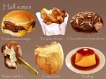 bread_bun cheese dessert food food_focus fried_chicken highres ice_cream kaneko_ryou meat no_humans nut_(food) original paper pastry plate pudding realistic sauce simple_background still_life wrapper