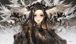 black_hair blue_eyes danhu earrings feathers gold head_wings highres jewelry long_hair looking_at_viewer ornament parted_lips wings