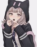1girl :o animal_hood bangs black_shirt blush brown_hair cat_hood danganronpa_(series) danganronpa_2:_goodbye_despair dress_shirt hair_ornament hairclip hands_up highres hood hood_up looking_at_viewer medium_hair nanami_chiaki neck_ribbon open_mouth pink_eyes pink_ribbon renshu_usodayo ribbon shirt sleeves_past_wrists solo spaceship_hair_ornament two-tone_shirt upper_body upper_teeth white_shirt