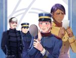 4boys :d arms_behind_back artist_name black_eyes black_hair buzz_cut dark_skin dark_skinned_male facial_hair forehead_protector goatee golden_kamuy hat imperial_japanese_army jin_akhr kepi koito_otonoshin long_sleeves male_focus military military_hat military_uniform multiple_boys mustache open_mouth short_hair simple_background smile tsukishima_hajime tsurumi_tokushirou uniform usami_tokishige very_short_hair