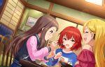 brown_hair dress idolmaster_cinderella_girls_starlight_stage koseki_reina long_hair smile violet_eyes
