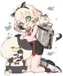 1girl 2021 animal_ears animal_print aqua_eyes bandaid bandaid_on_knee bell black_gloves black_legwear black_skirt bob_cut cat chinese_zodiac commentary_request cow_ears cow_horns cow_print cow_tail cowbell domino_mask ear_tag fake_animal_ears fake_horns fake_tail fang fur-trimmed_gloves fur_scarf fur_trim gloves grey_tongue hand_on_own_face highres horns inkling judd_(splatoon) kneeling li'l_judd_(splatoon) looking_at_viewer mask midriff milk_churn miniskirt navel new_year open_mouth pencil_skirt pointy_ears shirt shoes short_hair skirt sleeveless sleeveless_shirt smile sneakers socks splatoon_(series) tail tentacle_hair white_background white_footwear white_shirt year_of_the_ox yu-ri