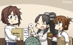 3girls alternate_costume bangs black_hair blue_pants box brown_hair cardboard_box closed_eyes dated folded_ponytail food furutaka_(kancolle) hair_ornament hairclip hamu_koutarou headgear heterochromia high_ponytail highres holding holding_food inazuma_(kancolle) kantai_collection long_hair low-tied_long_hair multiple_girls nisshin_(kancolle) open_mouth pants ponytail short_hair sidelocks signature smile sparkle sweater track_pants white_sweater