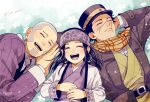 1girl 2boys :d ainu_clothes arm_behind_head artist_name asirpa belt black_hair buzz_cut closed_eyes earrings facial_hair goatee golden_kamuy grey_hair hat hoop_earrings jewelry jin_akhr long_sideburns long_sleeves lying military military_uniform multiple_boys on_back on_side open_mouth scar scar_on_cheek scar_on_face scar_on_nose scarf shiraishi_yoshitake short_hair sideburns smile sugimoto_saichi uniform very_short_hair yellow_scarf