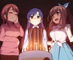 3girls :< bangs birthday birthday_cake blue_hair blush bow breast_envy breasts brown_eyes brown_hair cake candle closed_eyes collared_shirt eyebrows_visible_through_hair flat_chest food frilled_shirt frills hair_bow hair_tie highres idolmaster idolmaster_(classic) idolmaster_cinderella_girls idolmaster_shiny_colors kisaragi_chihaya large_breasts long_hair long_skirt looking_at_another looking_at_object mifune_miyu multiple_girls pants ponytail redhead shirt skirt sleeveless sleeveless_shirt smile sweater sweater_vest takiki tied_shirt trait_connection tsukioka_kogane turtleneck turtleneck_sweater twintails