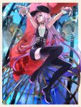 1girl andedalive bird birdcage black_dress black_headwear black_legwear blue_eyes boots braid cage cevio commentary conqueror_(cevio) dress english_commentary full_body head_tilt highres ia_(vocaloid) long_hair looking_at_viewer outstretched_arms pink_hair sideways_glance sleeveless sleeveless_dress solo thigh-highs thigh_boots twin_braids very_long_hair vocaloid wrist_cuffs