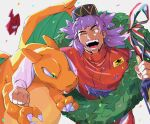 1boy alternate_costume arm_around_neck bottle charizard claws clenched_hand commentary_request confetti eye_contact facial_hair fingernails gen_1_pokemon gen_4_pokemon green_(grimy) green_eyes highres holding leon_(pokemon) long_hair long_sleeves looking_at_another male_focus one_eye_closed open_mouth pokemon pokemon_(creature) pokemon_(game) pokemon_swsh purple_hair racing_suit ribbon rotom rotom_phone smile striped striped_ribbon teeth tongue yellow_eyes