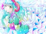 1girl aqua_hair bangs bent_over blunt_bangs cape cape_lift clothes_lift colored_eyelashes colorful commentary curly_hair expressionless eyebrows_visible_through_hair eyelashes futaba_sana gloves green_eyes green_hair hand_on_own_face hand_to_own_mouth hand_up highres horns iridescent light_particles looking_at_viewer magia_record:_mahou_shoujo_madoka_magica_gaiden mahou_shoujo_madoka_magica medium_hair multicolored multicolored_eyes multicolored_hair parted_lips riri_(ririwaldorf) solo sweater tareme turtleneck turtleneck_sweater uwasa_no_sana veil waist_cape white_cape yellow_eyes