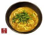 bowl food food_focus highres kaneko_ryou no_humans noodles original simple_background soup spring_onion still_life translation_request vegetable white_background