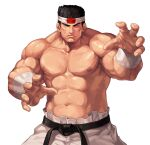 1boy abs biceps black_hair closed_eyes closed_mouth commentary_request cowboy_shot daimon_gorou evilgun facing_viewer fighting_stance fingernails hachimaki headband highres male_focus muscular muscular_male navel nipples pants pectorals serious shirtless short_hair sideburns simple_background solo standing the_king_of_fighters the_king_of_fighters_'97 thick_eyebrows white_background white_pants