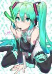 1girl aqua_nails bangs bare_shoulders between_legs black_footwear black_skirt black_sleeves blush boots closed_mouth commentary detached_sleeves eyebrows_visible_through_hair food frilled_shirt frills green_eyes green_hair hair_between_eyes hand_between_legs hatsune_miku headset highres holding holding_food holding_spring_onion holding_vegetable long_hair nail_polish pleated_skirt romaji_commentary shirt sitting skirt sleeveless sleeveless_shirt solo spring_onion thigh-highs thigh_boots twintails vegetable very_long_hair vocaloid wariza wattaro white_shirt