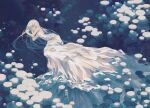 1girl closed_eyes dress kitaru_(mabo_f) limited_palette long_dress long_hair original partially_submerged sleeping sleeveless sleeveless_dress snow solo white_dress white_hair wide_shot