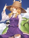 1girl absurdres animal arm_up bangs blonde_hair blue_sky blush brown_eyes brown_headwear closed_mouth clouds commentary_request day eyebrows_visible_through_hair frog goback hand_on_headwear hat highres long_hair long_sleeves looking_at_viewer moriya_suwako outdoors oversized_animal parted_bangs purple_skirt purple_vest shirt skirt skirt_set sky solo thigh-highs touhou turtleneck vest white_legwear white_shirt wide_sleeves