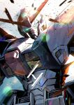 blue_eyes g-saviour_gundam glowing glowing_eyes gundam gundam_g-saviour head_tilt highres kuri_giepi looking_at_viewer looking_down mecha mobile_suit no_humans science_fiction solo v-fin