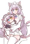 2girls :< animal_ear_fluff animal_ears bangs blue_eyes blush_stickers breasts bulga cat_ears cat_girl cat_tail chibi cs_perrault dual_persona eyebrows_visible_through_hair heterochromia hug last_origin maid_headdress minigirl multiple_girls silver_hair simple_background tail thigh-highs white_background white_legwear yellow_eyes