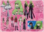 1girl 2000s_(style) absurdres artbook c.c. character_name character_sheet code_geass green_hair highres lelouch_lamperouge long_hair midriff multiple_views official_art pink_background scan text_focus very_long_hair younger