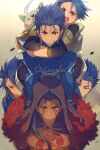 >_< 1other 5boys :d abs angry asymmetrical_bangs bangs blue_hair bodypaint bodysuit character_name child cis05 closed_mouth cu_chulainn_(fate)_(all) cu_chulainn_(fate/grand_order) cu_chulainn_(fate/prototype) cu_chulainn_alter_(fate/grand_order) dark_blue_hair dark_persona dog earrings facepaint fang fate/grand_order fate/grand_order_arcade fate/stay_night fate_(series) grin hands_on_shoulders hood hood_up hug hug_from_behind jewelry lancer long_hair looking_at_another male_focus multiple_boys multiple_persona muscular muscular_male open_mouth pectorals ponytail puppy red_eyes setanta_(fate) sharp_teeth shirtless skin_tight smile spiky_hair tan teeth xd