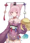 1girl atelier_(series) atelier_sophie bare_shoulders chinese_knot collarbone cornelia_(atelier) cowboy_shot crescent dalachi_(headdress) double_bun dress frills hair_cones kemololi looking_at_viewer pink_eyes pink_hair purple_dress short_dress short_hair simple_background sleeves_past_wrists solo standing tassel white_background