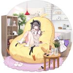 1girl azur_lane bangs bean_bag_chair black_hairband brown_cardigan byulzzi cardigan cellphone cherry chopsticks closed_eyes controller cup_noodle eating eyebrows_visible_through_hair flower food fruit game_console game_controller grey_hair hairband highres instant_ramen light_blush long_hair looking_at_viewer meowfficer_(azur_lane) official_alternate_costume official_art one_side_up open_cardigan open_clothes open_mouth pamiat_merkuria_(azur_lane) pamiat_merkuria_(sweet_cherry_memories)_(azur_lane) phone ramen sitting smartphone smile socks solo transparent_background vase violet_eyes white_legwear