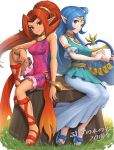 2girls bangs blue_dress blue_eyes blue_hair bodysuit bracelet din dress gonzarez grass grin harp highres instrument jewelry long_hair looking_at_viewer multiple_girls nayru necklace pointy_ears ponytail red_eyes redhead skin_tight sleeveless smile the_legend_of_zelda the_legend_of_zelda:_oracle_of_ages the_legend_of_zelda:_oracle_of_seasons tree_stump