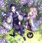 2girls bangs belt black_jacket black_legwear black_pants black_skirt breasts bug butterfly butterfly_hair_ornament closed_mouth day food from_above gradient_hair green_hair green_legwear hair_ornament hand_up haori highres insect jacket japanese_clothes kanroji_mitsuri kimetsu_no_yaiba knee_up kochou_shinobu large_breasts long_hair long_sleeves looking_at_viewer looking_up military military_uniform miniskirt mole mole_under_eye multicolored_hair multiple_girls nardack no_bra open_clothes open_jacket open_shirt outdoors pants parted_bangs pink_hair pleated_skirt purple_hair shirt sitting sitting_on_ground skirt smile thigh-highs thighs tri_braids uniform white_belt white_shirt wide_sleeves