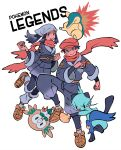 1boy 1girl black_hair blush clenched_hand closed_mouth commentary copyright_name cyndaquil dewott english_commentary female_protagonist_(pokemon_legends:_arceus) floating_hair floating_scarf gen_2_pokemon gen_5_pokemon gen_7_pokemon highres holding holding_poke_ball male_protagonist_(pokemon_legends:_arceus) mangoshake open_mouth pants poke_ball poke_ball_(legends) pokemon pokemon_(creature) pokemon_(game) pokemon_legends:_arceus rowlet sash scarf sidelocks smile teeth undershirt