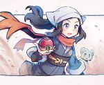 1girl black_hair blush commentary english_commentary eyelashes female_protagonist_(pokemon_legends:_arceus) floating_hair floating_scarf gen_4_pokemon grey_eyes hand_up holding holding_poke_ball long_hair mi-eau open_mouth orange_scarf poke_ball pokemon pokemon_(creature) pokemon_(game) pokemon_legends:_arceus sash scarf shinx sidelocks tongue undershirt