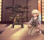 1girl absurdres acog assault_rifle blonde_hair bulletproof_vest camouflage_print eyebrows_visible_through_hair gloves gun hakama hakama_pants highres japanese_clothes kimono original red_eyes rifle scope socks solo squatting weapon weapon_request weapon_stand willy_pete