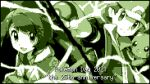 1boy 1girl absurdres anniversary bangs baseball_cap cardigan closed_mouth commentary copyright_name energy gen_1_pokemon gloria_(pokemon) hat highres holding holding_poke_ball jacket looking_at_viewer miyama-san monochrome open_mouth pikachu pixel_art poke_ball poke_ball_(basic) pokemon pokemon_(creature) pokemon_(game) pokemon_frlg pokemon_swsh red_(pokemon) smile splitscreen vs_seeker wristband