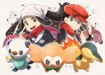 1boy 1girl black_hair chitozen_(pri_zen) commentary_request cyndaquil eyelashes female_protagonist_(pokemon_legends:_arceus) floating_hair gen_2_pokemon gen_5_pokemon gen_7_pokemon grey_eyes hand_on_headwear hat holding holding_poke_ball long_sleeves male_protagonist_(pokemon_legends:_arceus) open_mouth oshawott poke_ball poke_ball_(legends) pokemon pokemon_(creature) pokemon_(game) pokemon_legends:_arceus red_headwear red_scarf rowlet scarf short_hair sidelocks smile starter_pokemon teeth tongue