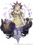 1girl beads blonde_hair book briar_rose_(sinoalice) closed_eyes cross-laced_footwear dress flower frills full_body habit hair_flower hair_ornament highres ji_no looking_at_viewer nun official_art sinoalice solo square_enix stuffed_toy thorns white_background yellow_dress
