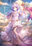 1girl alternate_costume angel angel_beats! angel_wings barefoot blue_sky clouds column commentary_request dress full_body goto_p long_hair looking_at_viewer pillar silver_hair sky solo tenshi_(angel_beats!) tiara wand white_dress white_wings wings yellow_eyes