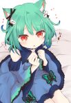 1girl :o animal_ear_fluff animal_ears bangs bed_sheet black_bow blue_dress blue_sleeves blush bow cat_ears commentary_request detached_sleeves dress eyebrows_visible_through_hair fang from_above green_hair hair_between_eyes hair_bow hair_ornament hands_up heart highres hololive juliet_sleeves kemonomimi_mode long_sleeves looking_at_viewer looking_up parted_lips puffy_sleeves red_eyes ridy_(ri_sui) sitting sleeveless sleeveless_dress solo uruha_rushia virtual_youtuber white_background wide_sleeves