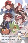 2boys 2girls ;d absurdres bangs baseball_cap blue_jacket blush bow bright_pupils brown_eyes brown_hair closed_mouth commentary_request copyright_name double_bun gen_5_pokemon grey_eyes grin hand_on_headwear hat highres hilbert_(pokemon) hilda_(pokemon) jacket legwear_under_shorts looking_at_viewer multiple_boys multiple_girls nate_(pokemon) odd_(hin_yari) one_eye_closed open_mouth oshawott pantyhose pink_bow pokemon pokemon_(creature) pokemon_(game) pokemon_bw pokemon_bw2 raglan_sleeves rosa_(pokemon) shirt shorts sidelocks smile snivy starter_pokemon_trio tepig twintails visor_cap wristband yellow_shorts
